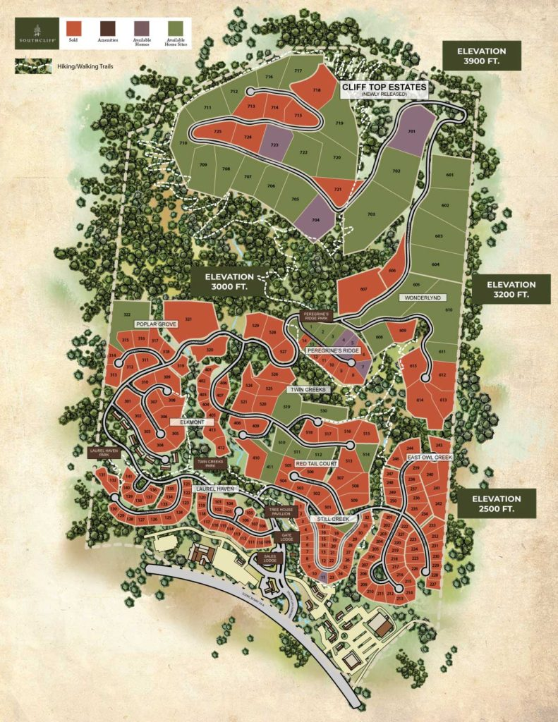 Asheville Elevation Map.Available Homesites M Southcliff Gated Mountain Community